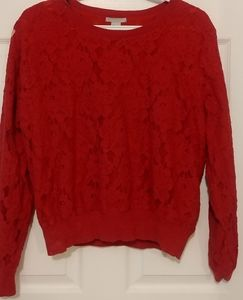 Red lace h&m sweater